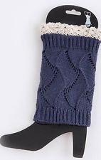 Women's Navy Crochet Lace and Knitted Boot Cuffs Toppers Leg Warmers Socks