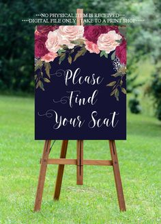 navy find your seat sign, find your seat sign, burgundy wedding sign, navy wedding sign, digital wedding sign, 16 x 20, YOU PRINT by OurFriendsEclectic on Etsy