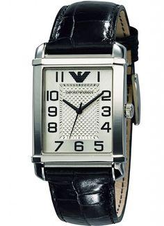 Emporio Armani Women's Black Calf Skin Quartz Watch with Silver Dial Armani Watches For Men, Luxury Watches, Emporio Armani, Mens Designer Watches, Popular Watches, Watch Brands, Sport Watches, Quartz Watch, Fashion Brand