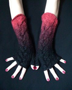 Fingerless Gloves/ Wrist Warmers Handknit Cabled Red by LaimaShop