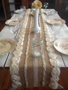 table runner with chiffon roses, lace and vintage ribbon. Use for wedding tables or a housewarming gifts Burlap Projects, Burlap Crafts, Diy Crafts, Fabric Crafts, Sewing Crafts, Burlap Christmas Decorations, Rustic Christmas, Burlap Lace, Wedding Burlap