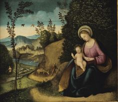 Lorenzo Costa : Rest on the Flight into Egypt (Private collection)   1460-1535 ロレンツォ・コスタ