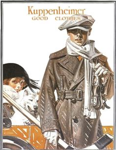1921 Kuppeneheimer menswear ad for December. A glimpse of a lady in winter wear, too.    Leyendecker? possibly