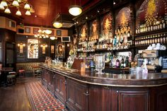 The George is a Victorian pub located in London's West End. The pub is owned by the Greene King Brewery and like many Victorian pubs is deco. Pub Design, Restaurant Design, Modern Restaurant, Pub Bar, Cafe Bar, Bar Interior, Interior Design, Pub Free, Bodega Bar