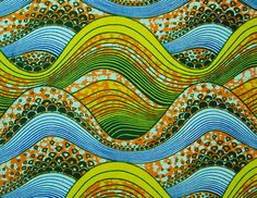 African Fabric Cotton Wax Print YELLOW ORANGE BLUE Waves