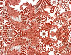 Paradise in red Mexican oilcloth pattern sample