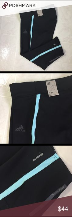 "ADIDAS RESPONSE THREE-QUARTER TIGHTS NO TRADES - 🎈REDUCED 🎈Black with aqua stripe.  Ventilated climacool keeps you cool and dry Front to back drop at waistband for more protection and freedom of movement Zip sweat-guard pocket; Drawcord on elastic waist Reflective details 17.5"" inseam  Fitted fit 83% polyester / 17% elastane double knot Adidas Pants Capris"