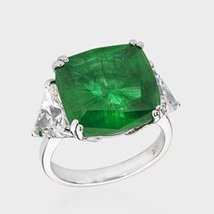 BROOKE ASTOR LIVES FOREVER - 12.0 Ct. Cushion Cut  Simulated Emerald 14K Ring - $880