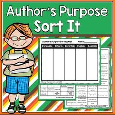 This sorting activity for author's purpose is perfect for literacy work stations, as a formative assessment, guided practice, or as a summative assessment. 6th Grade Reading, Guided Reading, Reading Wall, Reading Logs, Teaching Reading, Learning, First Grade Activities, Reading Activities, Reading Resources