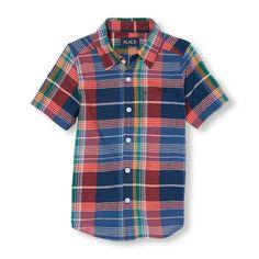 s Boys Short Sleeve Plaid Madras Button-Down Shirt - Blue - The Children's Place