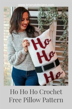 Get ready for the holidays with this free crochet pattern. The Ho Ho Ho crochet pillow pattern is a fun and easy project. Get your home festive and ready for Santa to come down the chimney. This free crochet pattern comes with written instructions as well as chart instructions. Crochet Tree, Crochet Gifts, Free Crochet, Crochet Pillow Pattern, Crochet Hooks, Crochet Patterns, Crochet Christmas, Christmas Time, Crochet Decoration