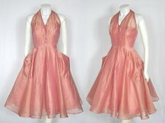 Vintage Rose Pink Silk Organza Party Circle Skirt Dress w Huge Pockets 50s Dresses, Vintage Dresses, Vintage Clothing, Circle Skirt Dress, Dress Up Day, Vintage Fashion 1950s, 20th Century Fashion, Silk Organza, Beautiful Outfits