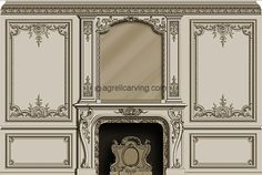 Hand carved French style fire mantel and mirror - hand carved panels.Design by Agrell Architectural Carving French Interior, Classic Interior, Interior Walls, Interior Design, Ceiling Design, Wall Design, French Master Bedroom, Master Bedrooms, French Walls