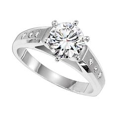 MCW860-DE   Lieberfarb Diamond solitaire engagement ring with small diamond accents.