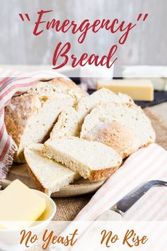 Do you want to learn how to make this easy no yeast bread? Only 4 ingredients in the recipe and 5 minutes of work for beautiful crusty, soft and tender homemade bread! recipes without yeast Emergency No Yeast Bread - Bake it in a Hurry! Easiest Bread Recipe No Yeast, Yeast Bread Recipes, Bread Machine Recipes, Homemade Bread Without Yeast, Vegan Bread Recipe No Yeast, Wheat Bread Recipe Without Yeast, Bread With No Yeast, No Rise Bread, Recipe For Yeast