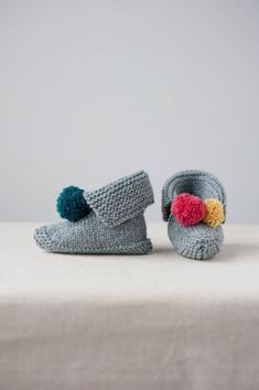 These are really fun and fast to knit. You start off working back and forth in rows, then join the stitches to work in the round! Find these adorable pom pom baby booties and more inspiration at LoveKnitting.Com.
