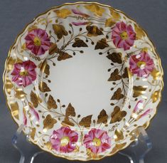 Copeland Spode Collamore Hand Painted Pink & Gilt Morning Glory Bowl 1875 - 1885