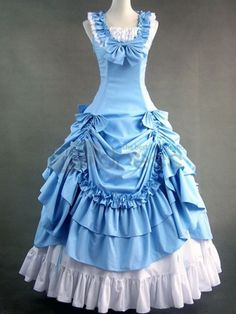 Sky Blue Rococo Classic Lolita Long Dress Ball Gown Full Length