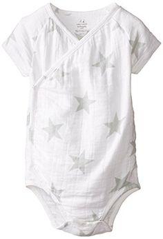 aden  anais BabyBoys Newborn Muslin ShortSleeve Kimono Bodysuit Silver Star 36 Months