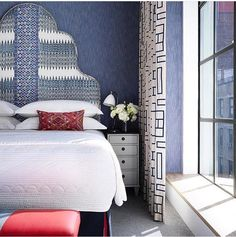 A stunning headboard in this colourful bedroom at and beautiful combinations of fabrics and textures in red, white… Dream Bedroom, Home Decor Bedroom, Girls Bedroom, Bedroom Ideas, Master Bedroom, Townhouse Designs, Bedroom Colors, Colourful Bedroom, Beautiful Bedrooms