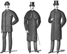 Victorian Men's Clothing - 1880s. Left to right: lounge coat, overcoat, chesterfield.