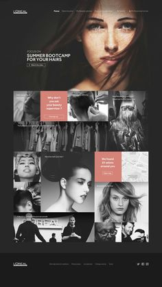 loreal professionnel web design: Again bold imagery on landing pages. Pink is a great accent colour to the black. Adds contrast with still maintaining a clean look to it. Web Design Mobile, Web Mobile, Web Ui Design, Page Design, Flat Design, Design Design, Home Design Diy, Creative Web Design, Website Layout