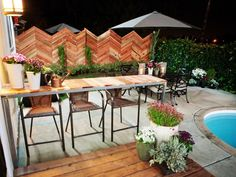 Herringbone Privacy Fence + Custom High-Top Bar. Yay or Nay? (By Season 7 Design Star, Stanley and Britany) #pinwithmeg