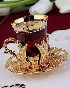 Turkish Tea Set for 6 - Glasses with Brass Holders Lids Saucers Tray & Glass Spoons, 25 Pcs (Gold): Spoons Tea Cup Set, Tea Cup Saucer, Tea Sets, Vintage Tea, Arabic Tea, Turkish Tea, Tea Glasses, Teapots And Cups, Teacups