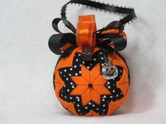 Halloween Quilted Ornament no sew sparkly by KCFabricOrnaments, $15.00