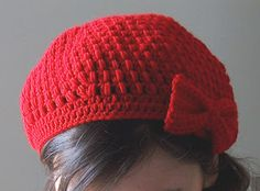 Puff Stitch Crochet Beret w/Bow Straightforward pattern, but not just straight up sc, dc, hdc - I would guess still beginner?
