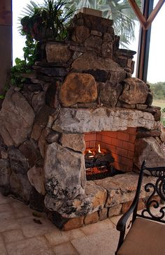 garden fireplace Outside Fireplace, Backyard Fireplace, Fire Pit Backyard, Backyard Patio, Backyard Landscaping, Outdoor Rooms, Outdoor Living, Rustic Outdoor Fireplaces, Outdoor Oven