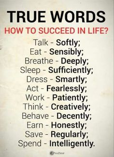 Success Quotes How to Succeed in Life True Words talk softly, eat sensibly, breathe deeply, sleep sufficiently, dress smartly Inspirational Quotes About Success, Success Quotes, Great Quotes, Positive Quotes, Smart Quotes, Best Motivational Quotes, Super Quotes, Strong Quotes, Wisdom Quotes