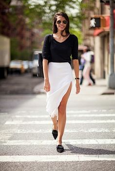 white thigh slit skirt
