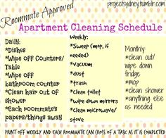 Roommate Roved Realistic Apartment Cleaning Schedule