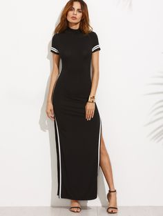 Online shopping for Black Striped Trim Short Sleeve Split Maxi Dress from a great selection of women's fashion clothing & more at MakeMeChic.COM.