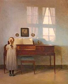 Peter Vilhelm Ilsted, Danish painter and printmaker (1861-1933). 'Girl by the Piano'