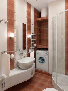 bathroom layout space saving ideas Modern Small Bathrooms, Small Bathroom With Shower, Small Bathtub, Bathroom Layout, Modern Bathroom Design, Bathroom Ideas, Lavabo D Angle, Plafond Design, Shower Cabin