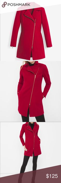 """Asymmetrical zip-front coat Asymmetrical zip-front coat in luscious red Notch collar Welt pockets Goldtone hardware Lined Polyester/viscose/elastane. Machine wash cold. Regular approx. 35"""" from shoulder inside tag slightly cut White House Black Market Jackets & Coats"""
