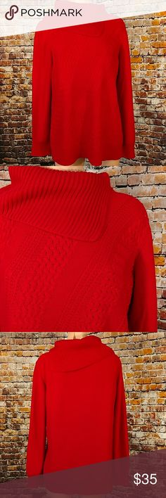 Cowl Neck Sweater Beautiful red split cowl neck sweater. Long sleeve comfy and cozy. Coldwater Creek size large. 21 inches across chest lying flat , 28 inches long. Coldwater Creek Sweaters Cowl & Turtlenecks
