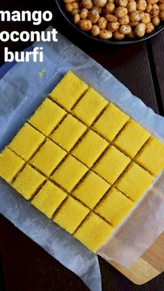 mango burfi recipe, mango barfi, mango coconut burfi recipe with step by step photo/video. extension to popular coconut barfi recipe with sweet mango pulp. Fudge Recipes, Sweets Recipes, Snack Recipes, Cooking Recipes, Juicer Recipes, Detox Recipes, Salad Recipes, Burfi Recipe, Chaat Recipe