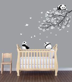 Flower Branch Panda Nursery Sticker, Animal Wall Art, Flower Wall Decor, Panda