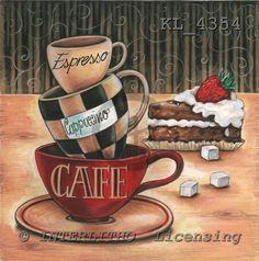 Interlitho, Theresa, MODERN, paintings, 3 cups, cake,coffee, KL4354,#n# Geburtstag, cumpleaños, illustrations, pinturas