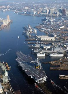 Cool shot of a carrier heading up the Elizabeth River in Norfolk, Virginia
