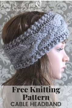 Knitting PATTERN - Cable Knit Headband Pattern This elegant. : Knitting PATTERN – Cable Knit Headband Pattern This elegant knit headband pattern features an easy cable design. It's perfect for everyone, including children, boys, girls, women and men! Knitting Blogs, Knitting Stitches, Knitting Patterns Free, Knit Patterns, All Free Knitting, Beginner Knitting, Finger Knitting, Knitting Tutorials, Knitted Headband Free Pattern