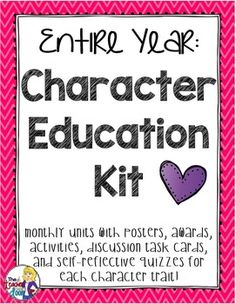 This 214 page Entire Year Character Education Kit is a complete program to help you directly teach important character traits in an active, motivating format. The 11 character traits include Caring, Respect, Responsibility, Citizenship, Courage, Fairness, Giving, Gratitude, Perseverance, Self-Discipline, and Trustworthiness. There are posters, awards, 32 discussion task cards for each trait, self-reflective quizzes, mentor text lists, activities and more! (TpT)