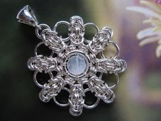 Sterling Silver Medallion Pendant, Moonstone, Round, Snowflake Chainmaille, via Etsy.