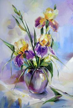 Ideas for painting portrait tutorial acrylic Iris Painting, Pour Painting, Watercolour Painting, Watercolor Flowers, Painting & Drawing, Watercolors, Illustration Blume, Flower Art, Cool Art