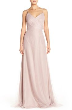 Monique Lhuillier Bridesmaids Surplice Tulle Gown available at #Nordstrom