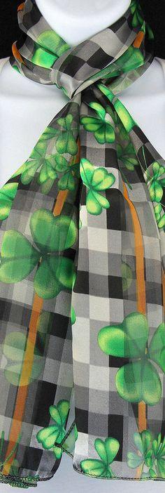 New Shamrock Checkerboard Womens Scarf St Patricks Day Irish Scarves 13 X 60 #TiesJustForYou #Scarf