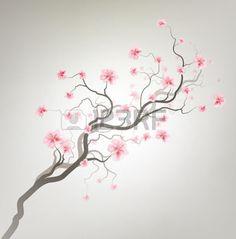 fleur de cerisier: Conception Fond gris avec l'arbre de Sakura